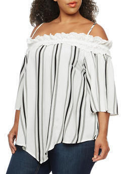 Plus Size Off the Shoulder Stripe Top with Crochet Trim - 3803058757505