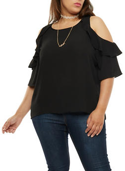 Plus Size Cold Shoulder Ruffle Top with Necklace - 3803058758162