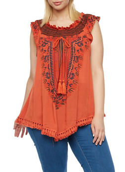 Plus Size Off The Shoulder Top with Dashiki Print - 3803058758205