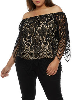 Plus Size Off the Shoulder Lace Overlay Top - 3803058758831