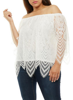 Plus Size Off the Shoulder Lace Overlay Top - WHITE - 3803058758831