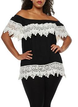 Plus Size Off the Shoulder Crochet Top - BLACK - 3803058758833