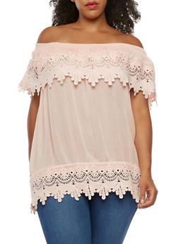 Plus Size Off the Shoulder Crochet Top - 3803058758833