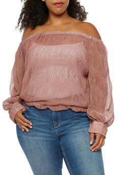 Plus Size Off the Shoulder Sheer Top - 3803058759096