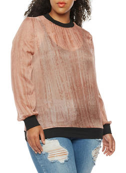 Plus Size Chiffon Knit Long Sleeve Top - 3803058759097