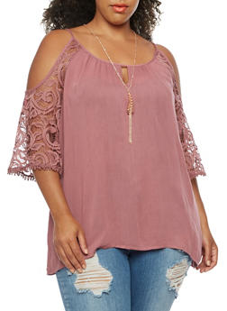Plus Size Off the Shoulder Crepe Knit Top - 3803058759135