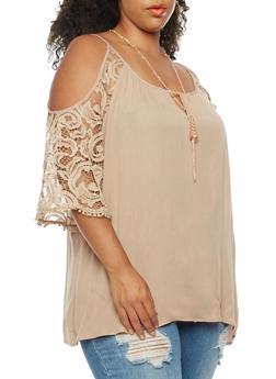 Plus Size Off the Shoulder Crepe Knit Top - 3803058759135