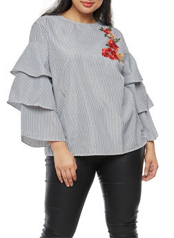 Plus Size Striped Tiered Sleeve Blouse with Floral Applique - 3803058759210