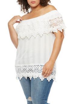 Plus Size Off the Shoulder Top with Crochet Details - 3803058759674