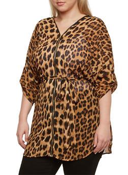 Plus Size Leopard Print Blouse with Zipper Neckline - 3803058930108