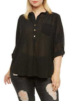 Plus Size High-Low Top with Mandarin Collar - 3803058930187