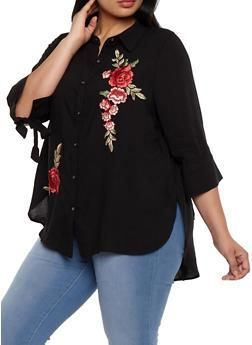 Plus Size Button Front Top with Floral Applique - 3803058930316