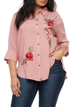 Plus Size Button Front Top with Floral Applique - 3803058930316