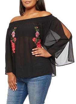 Plus Size Off the Shoulder Slit Sleeve Top with Floral Applique - 3803058930318