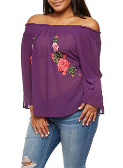 Plus Size Off the Shoulder Slit Sleeve Top with Floral Applique - 3803058930318