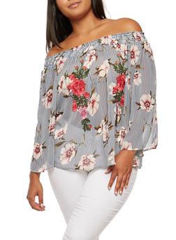 Plus Size Floral Off the Shoulder Top with Floral Applique Detail - 3803058930319