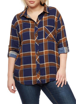 Plus Size Plaid Button Front Top - 3803058930356
