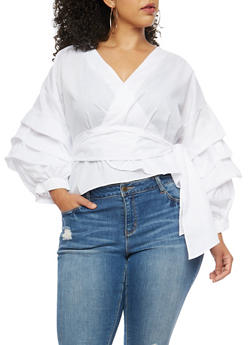 Plus Size Tiered Sleeve Wrap Front Top - WHITE - 3803058930501