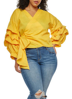 Plus Size Tiered Sleeve Wrap Front Top - 3803058930501