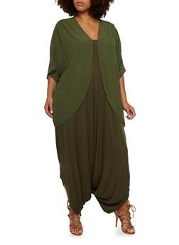 Plus Size Sheer Kimono - 3803058930704