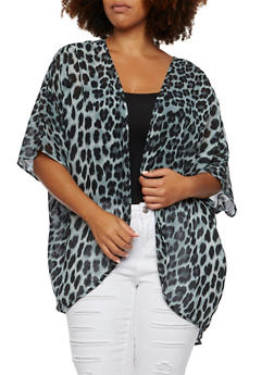 Plus Size Sheer Cardigan with Leopard Print - 3803058930705