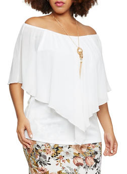 Plus Size Layered Top with Necklace - 3803058930707