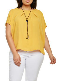 Plus Size Short Sleeve Chiffon Top with Necklace - MUSTARD - 3803058930708