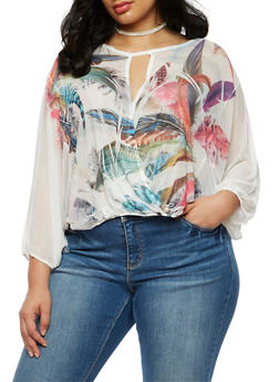 Plus Size Mesh Feather Print Top - 3803058930845