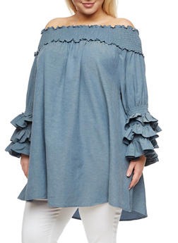 Plus Size Ruffled Off the Shoulder Tunic Top - 3803058930921