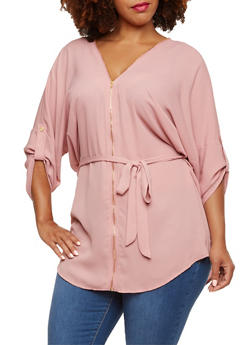 Plus Size Belted Tunic Top with Zipper Neckline - 3803058930932