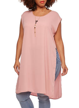 Plus Size Top with Side Slits and Necklace - 3803058930940