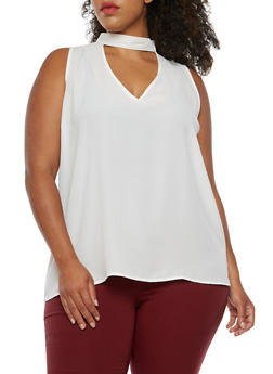 Plus Size Sleeveless Choker Neck Top - WHITE - 3803058931256