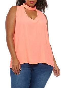 Plus Size Sleeveless Choker Neck Top - 3803058931256