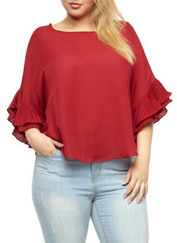 Plus Size Crepe Knit Ruffle Sleeve Top - 3803058931446