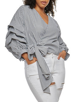 Plus Size Striped Ruched Sleeve Wrap Top - 3803058931502