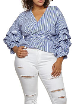 Plus Size Striped Wrap Top with Tiered Sleeves - 3803058931503
