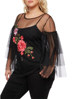 Plus Size Floral Applique Mesh Top - 3803058931630