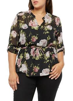 Plus Size Floral Cinched Waist Blouse - 3803058931701
