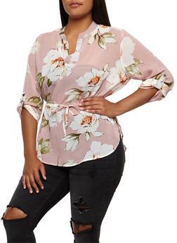 Plus Size Floral Cinched Waist Blouse - 3803058931703