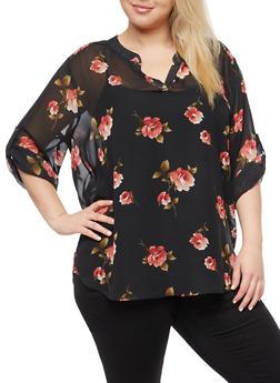 Plus Size Sheer Rose Blouse - 3803058931712