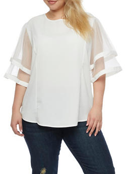 Plus Size Double Tiered Mesh Sleeve Blouse - WHITE - 3803058931746