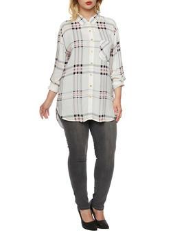 Plus Size Plaid Shirt with Belt - 3803058931976