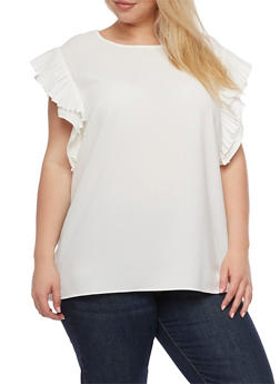 Plus Size Short Pleated Ruffled Sleeve Blouse - WHITE - 3803058932046