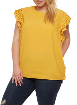 Plus Size Short Pleated Ruffled Sleeve Blouse - 3803058932046