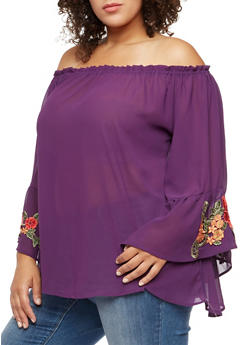 Plus Size Crepe Knit Off the Shoulder Top with Flutter Sleeves - 3803058933094