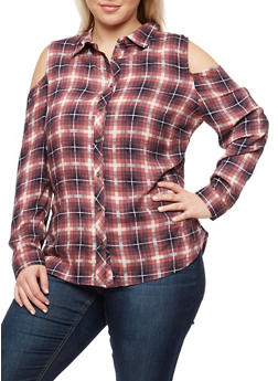 Plus Size Cold Shoulder Plaid Top - NAVY/PINK - 3803058933560