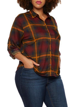 Plus Size Button Up Shirt in Plaid - 3803058934074