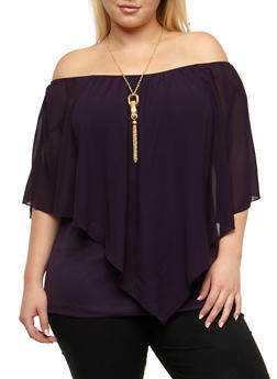 Plus Size Off the Shoulder Overlay Top - 3803058937071