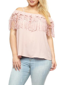 Plus Size Off the Shoulder Crochet Fringe Top - 3803058937214