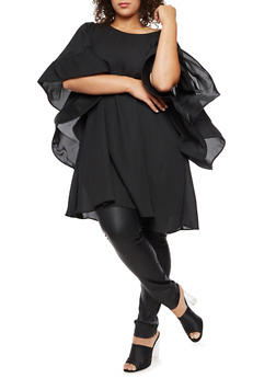 Plus Size Structured Sleeve Tunic Top - 3803058937813